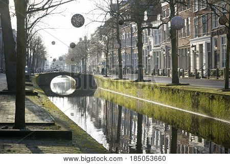 View on town canal in Delft Netherlands