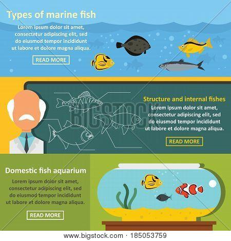 Fish aquarium banner horizontal concept set. Flat illustration of 3 Fish aquarium vector banner horizontal concepts for web