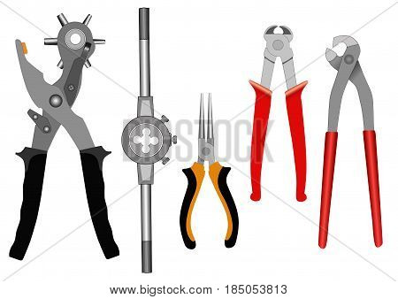 Set of different tools for a household on a white background-vector