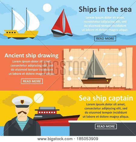 Nautical ship banner horizontal concept set. Flat illustration of 3 nautical ship vector banner horizontal concepts for web