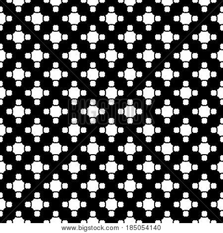 Vector monochrome seamless pattern, simple geometric texture, white figures on black backdrop, rounded octagons. Abstract repeat background for tileable print. Design for decoration, textile, fabric