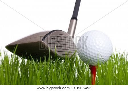 Golf - A golfball on a tee and a golfclub on a white background