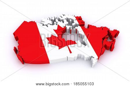 map of Canada on the white background (3d rendering)