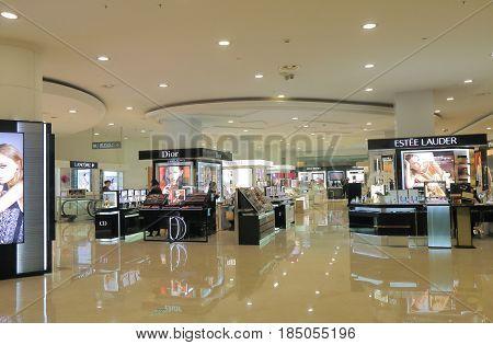 SUZHOU CHINA - NOVEMBER 3, 2016: Unidentified people visit Meiluo department store. Meiluo department store is one of the biggest department store in Suzhou.