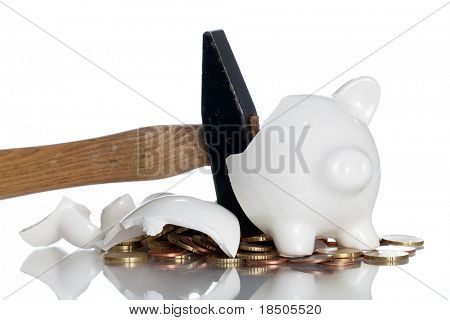 Broken Piggy Bank on a white background