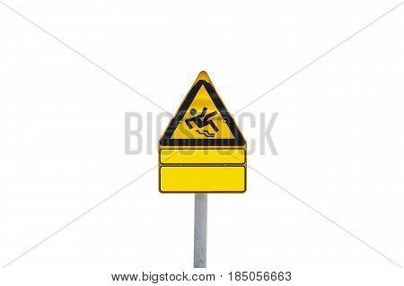Yellow triangular Information sign warning sign skydiver.