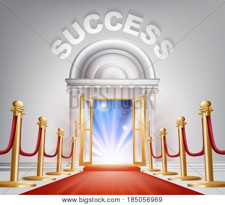 An illustration of a posh looking door with red carpet and Success above it. Concept for door to success