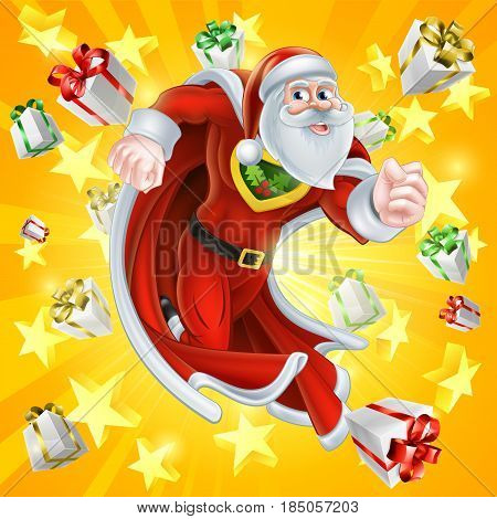 Cartoon Santa Claus Christmas superhero character illustration