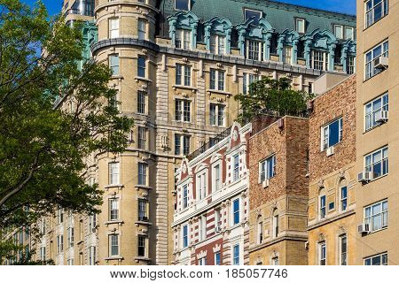 Facades of high-rise buildings on Central Park West. Upper West Side on sunny morning. Manhattan New York City