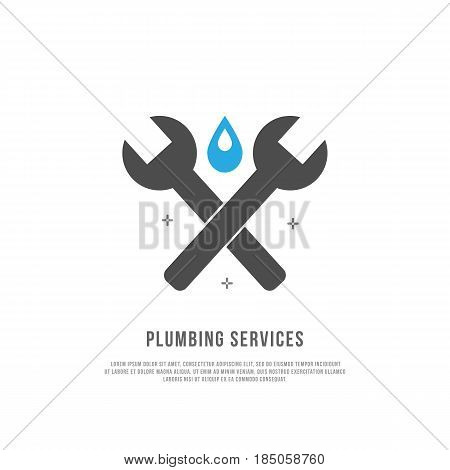 Modern flat style logo for plumber or handyman . Plumbing logo template. Plumbing service. Elements for brand Identity. Business card. Vector logo template.