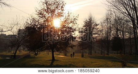 Happy and calm life in a natural park, countryside at sunset. People having fun and walk outdoors. Concepts of family, healthy lifestyles and happiness.