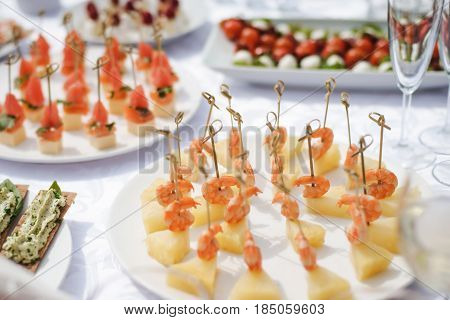 beautifully served appetizers in a fancy restaurant