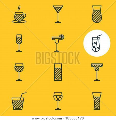 Vector Illustration Of 12 Beverage Icons. Editable Pack Of Tea Cup, Beverage, Lemonade And Other Elements.