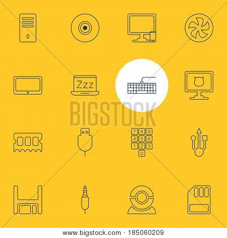 Vector Illustration Of 16 Notebook Icons. Editable Pack Of Phone Near Computer, Mainframe, Qwerty Board And Other Elements.