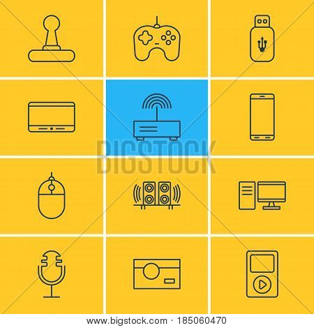 Vector Illustration Of 12 Device Icons. Editable Pack Of Photography, Cursor Controller, Game Controller And Other Elements.