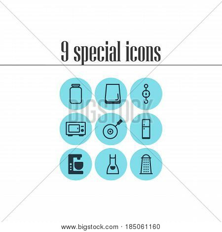 Vector Illustration Of 9 Kitchenware Icons. Editable Pack Of Mixer, Smock, Glass Cup And Other Elements.