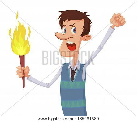Angry cartoon man with a torch vector