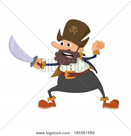 Illustration of pirate cartoon character with sword