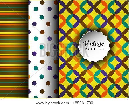 Retro vector seamless patterns. Endless texture can be used for wallpaper, pattern fills, web page background, surface textures. Set of geometric ornaments. Pattern for cafe, sweet-shop, pastry shop