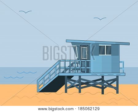 Sea Side Summer Landscape With Lifeguard House on a Beach and Blue Sea With Sky in Flat Design. Vector Illustration.