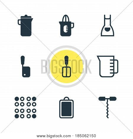 Vector Illustration Of 9 Cooking Icons. Editable Pack Of Cooker, Wine Opener, Butcher Knife And Other Elements.