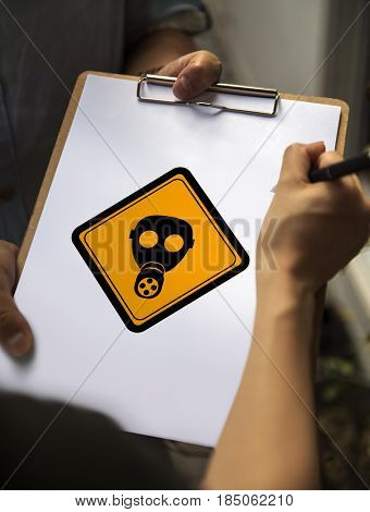 Radioactivity Protection Mask Sign Attention Banner on Paper