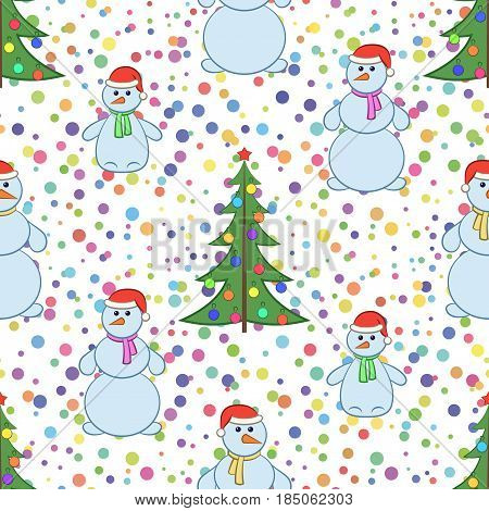 Christmas Holiday Seamless Background with Cartoon Snowmen Family, Mother, Father and Baby in Red Santa Claus caps and Fir Tree, Symbolical Tile Pattern with Colorful Confetti for Your Design. Vector