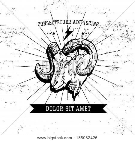 Vintage hand draw ram label. Vector element, badge, emblem, logo, insignia, sign, identity, logotype, poster. Stroke hipster illustration with typographic for t-shirt prints. Ram farmer hunting
