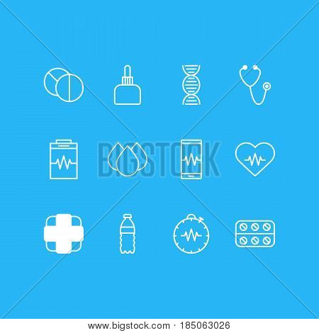 Vector Illustration Of 12 Medical Icons. Editable Pack Of Medicament Pitcher, Heart Rhythm, Pressure Gauge And Other Elements.