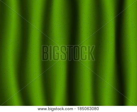 Beautiful Green Drapery Silk textile Background. Vector Illustration.