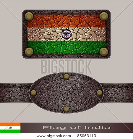 Label of a flag of India. Set stylized as leather of objects.