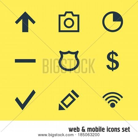 Vector Illustration Of 9 Interface Icons. Editable Pack Of Conservation, Pen, Cordless Connection And Other Elements.
