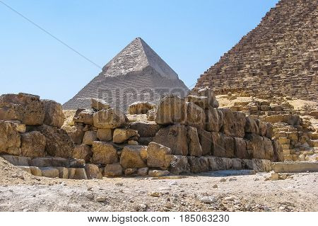 View of the Khafra pyramid from the foot of the Khufu pyramid.