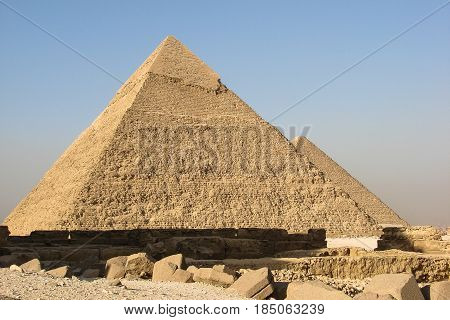 View of the Pyramids of Khafre and Khufu in Giza.