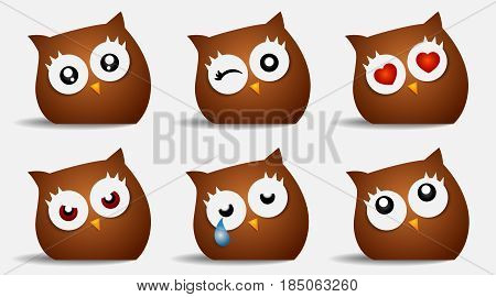 emoticons Smiley face owl icons. emotional funny faces cry faces Angry sad In love in glossy realistic isolated in white background. Vector illustration