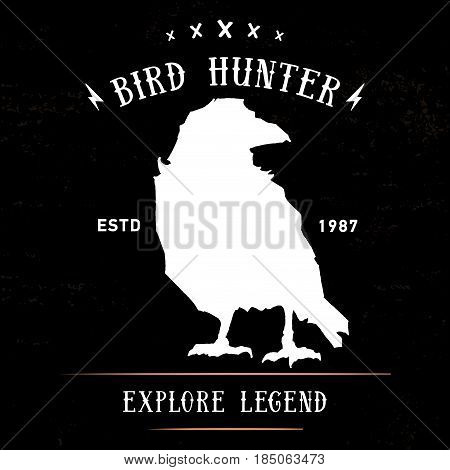 Vintage hand drawing raven or crow label. Vector element, badge, emblem, logo, insignia, sign, identity, logotype, poster. Stroke hipster illustration with typographic for t-shirt prints. Bird hunting