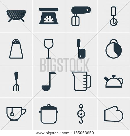 Vector Illustration Of 16 Cooking Icons. Editable Pack Of Pepper Container, Whisk, Wine And Other Elements.
