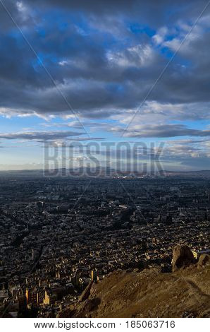 amazing view of Damascus city in Syria before the war , the  Mount called Qassioun