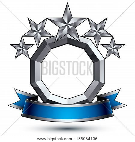 3D Vector Classic Royal Symbol, Sophisticated Silver Round Emblem With Five Pentagonal Stars Isolate