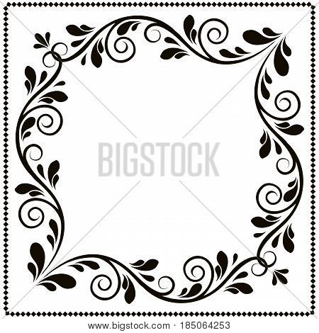 calligraphy penmanship curly baroque frame black border