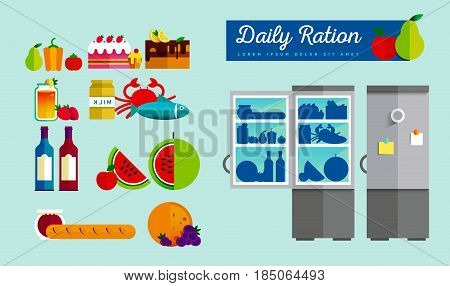 Vector open fridge full of healthy fresh food. Natural vegetables and fruit in flat style. Diet or lifestyle illustration. Daily meal, organic ration. Kitchen staff. Infographic