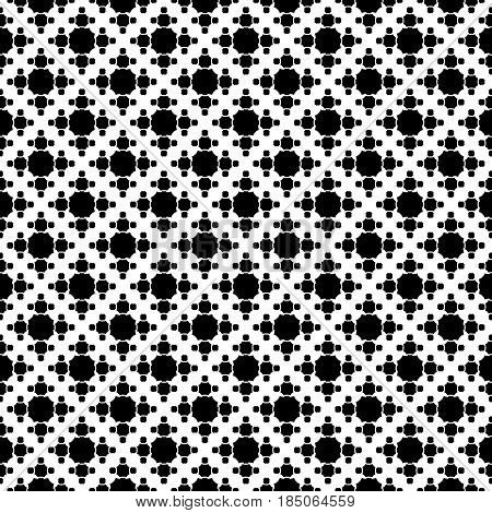 Vector monochrome texture, simple geometric seamless pattern, black octagonal figures on white backdrop. Abstract repeat background for prints, decor, textile, fabric, cover, digital, web