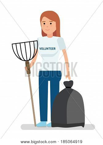 Young volunteer girl collects garbage. Illustration on white background. Vector illustration in flat cartoon style