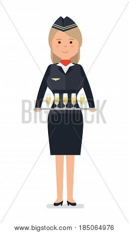 The stewardess with the drinks, illustration on a white background. Vector illustration in flat style