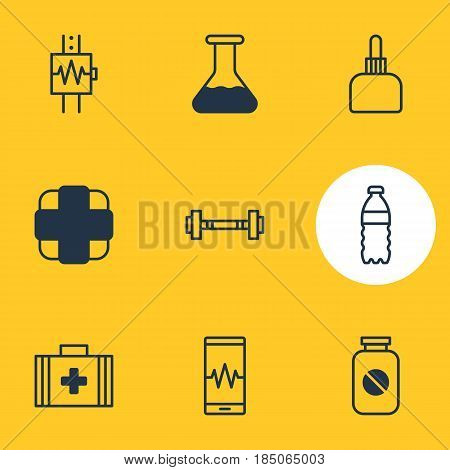 Vector Illustration Of 9 Medicine Icons. Editable Pack Of Heartbeat, Phone Monitor, Plastic Bottle And Other Elements.