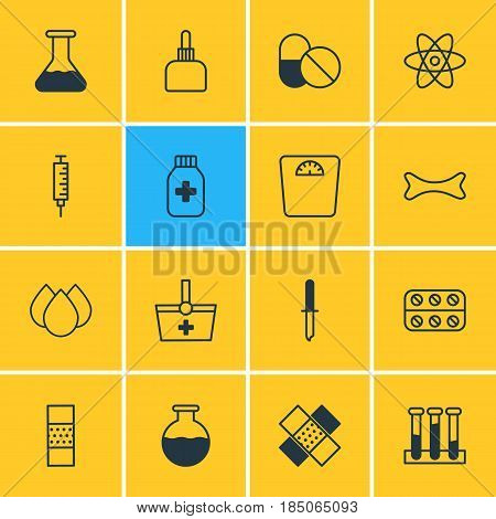 Vector Illustration Of 16 Health Icons. Editable Pack Of Trickle, Flask, Pipette And Other Elements.