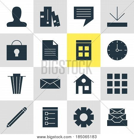 Vector Illustration Of 16 Online Icons. Editable Pack Of Board, Trash, Chat And Other Elements.