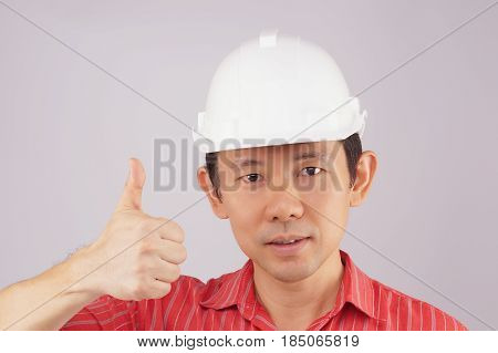 Engineer Wear Red Shirt And White Hat Make Signal Thumb