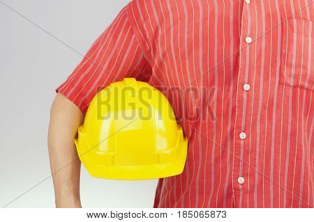 Engineer With Red Shirt Hold Yellow Hat On White Background