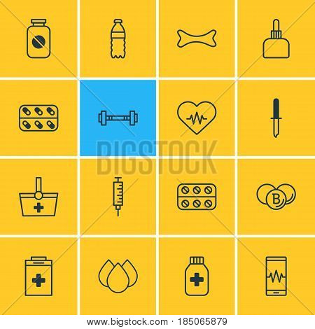 Vector Illustration Of 16 Medicine Icons. Editable Pack Of Trickle, Dumbbell, Medicine And Other Elements.